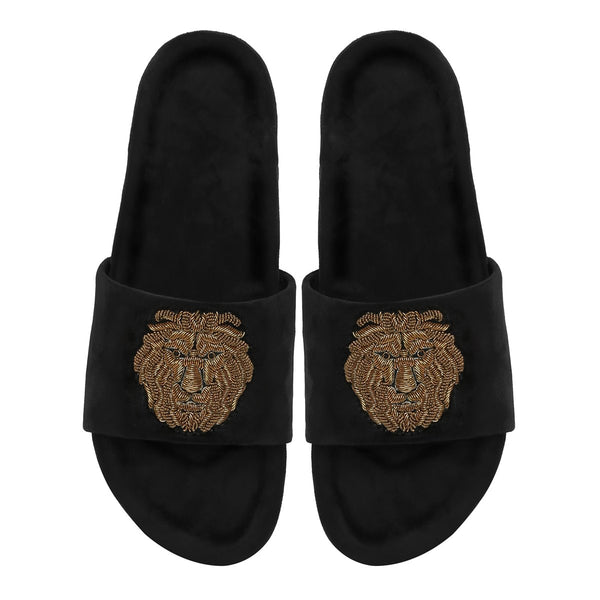 Black Velvet Lion Zardosi Slide-In Slippers By Bareskin