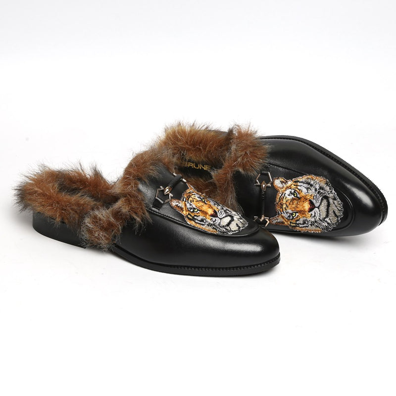 Black Leather Tiger Design Fur Mules By Bareskin