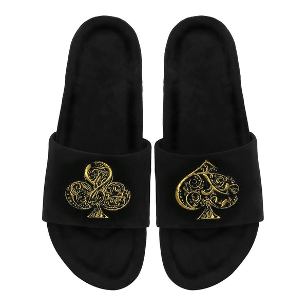 Black-Golden Poker Detailing Zardosi Slide-In-Slippers By Bareskin