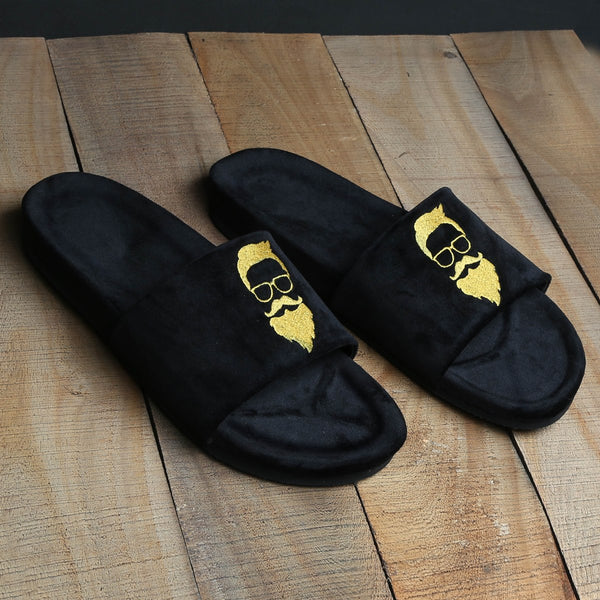 Golden Bearded Man Black Velvet Slide-In Slippers By Bareskin