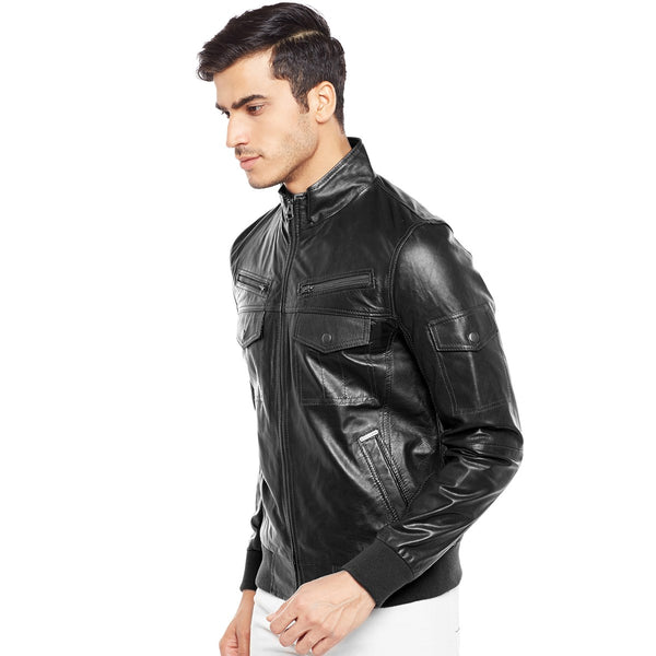 Bareskin Men'S Long Sleeves Black Leather Jacket