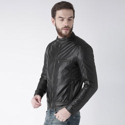 Black Leather Padded Shoulder Slim Fit Jacket By Bareskin