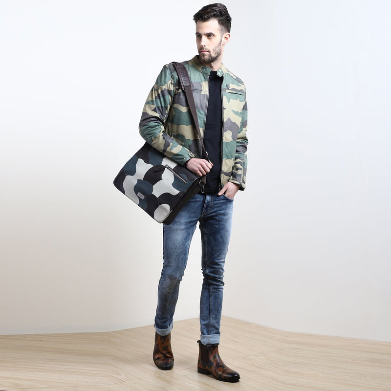 CAMO MOD LOOK LEATHER JACKET BY BARESKIN