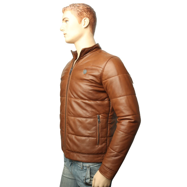 TAN GENUINE LEATHER PUFFER JACKET BY BARESKIN