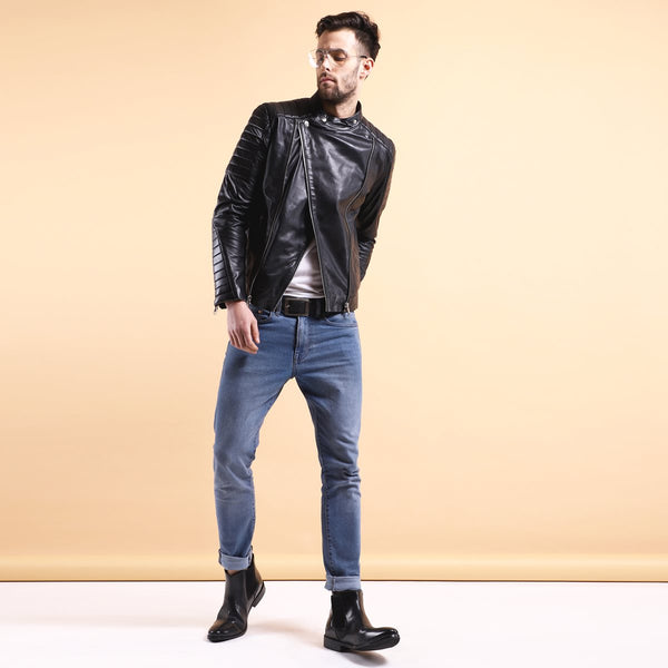 Black Leather Padded Biker Jacket By Bareskin