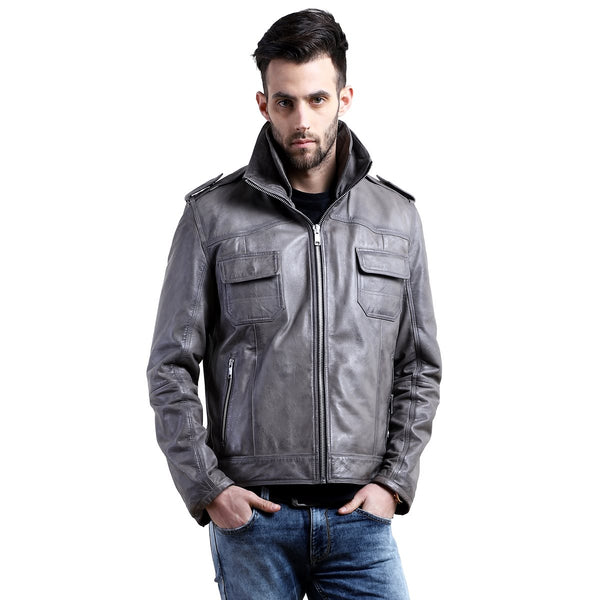 Grey Leather Double Collar Styled Jacket By Bareskin