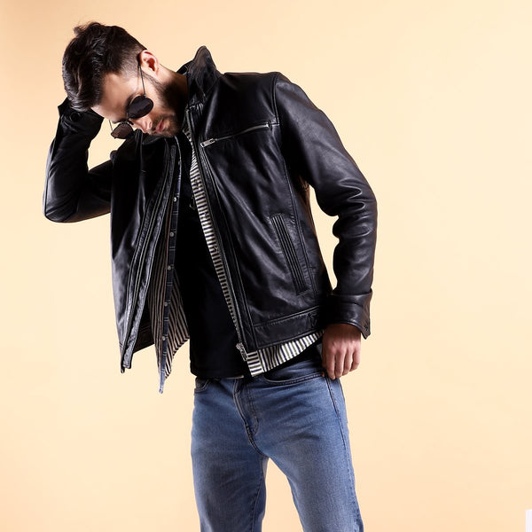 Classic Black Leather Regular Fit Jacket By Bareskin