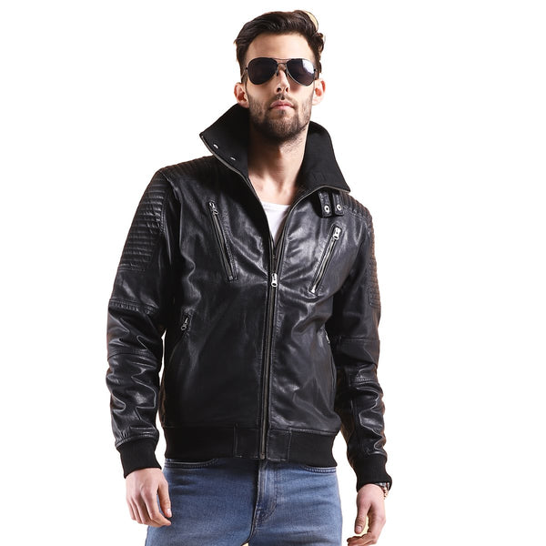 BLACK LEATHER CONTRASTING WOVEN COLLAR BOMBER JACKET BY BARESKIN