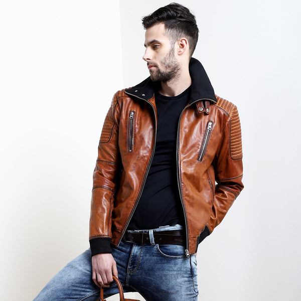 Tan Leather Contrasting Woven Collar Bomber Jacket By Bareskin