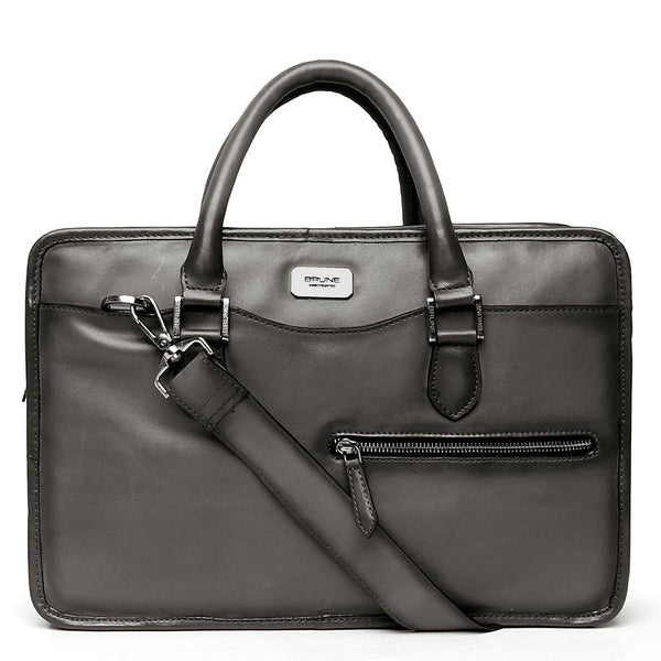 Grey Classic Full Grain Leather Laptop Briefcase By Brune
