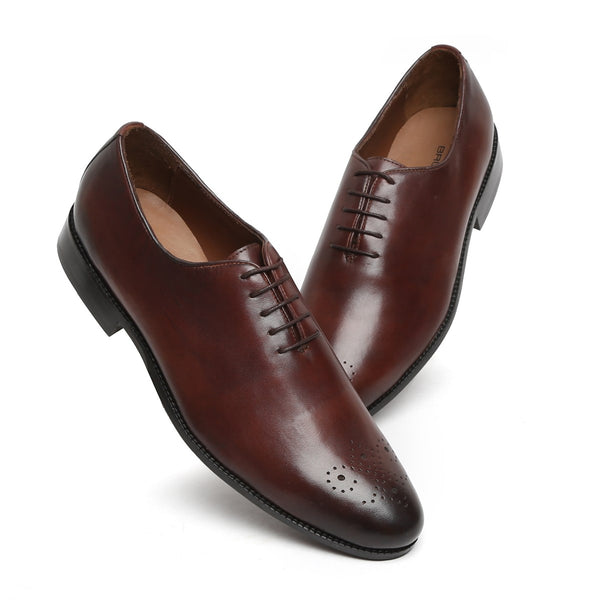 DARK BROWN WHOLE CUT/ONE PIECE MEDALLION TOE OXFORD SHOES BY BRUNE
