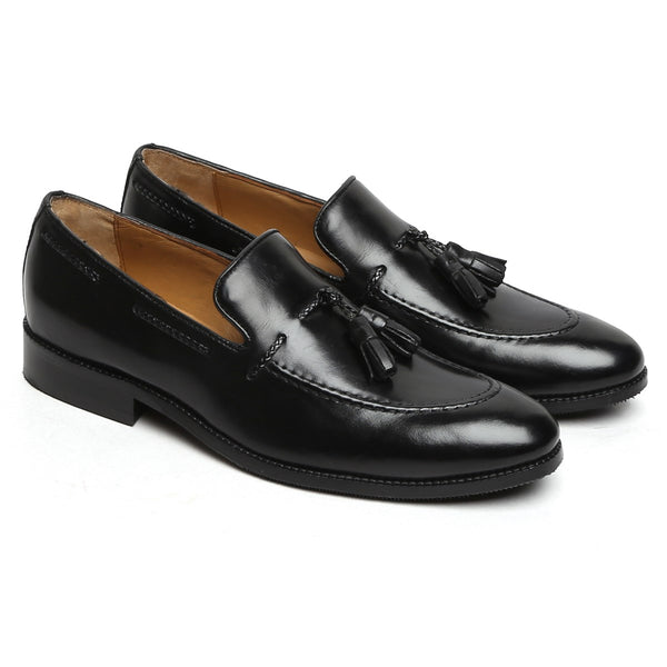 Black Genuine Leather Side Lacing Tassel Loafers By Brune