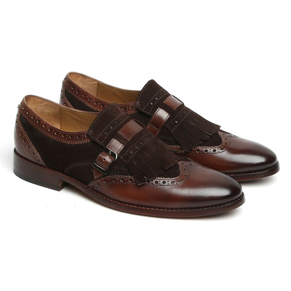 Brown Leather Fringed Single Monk Strap Shoes By Brune