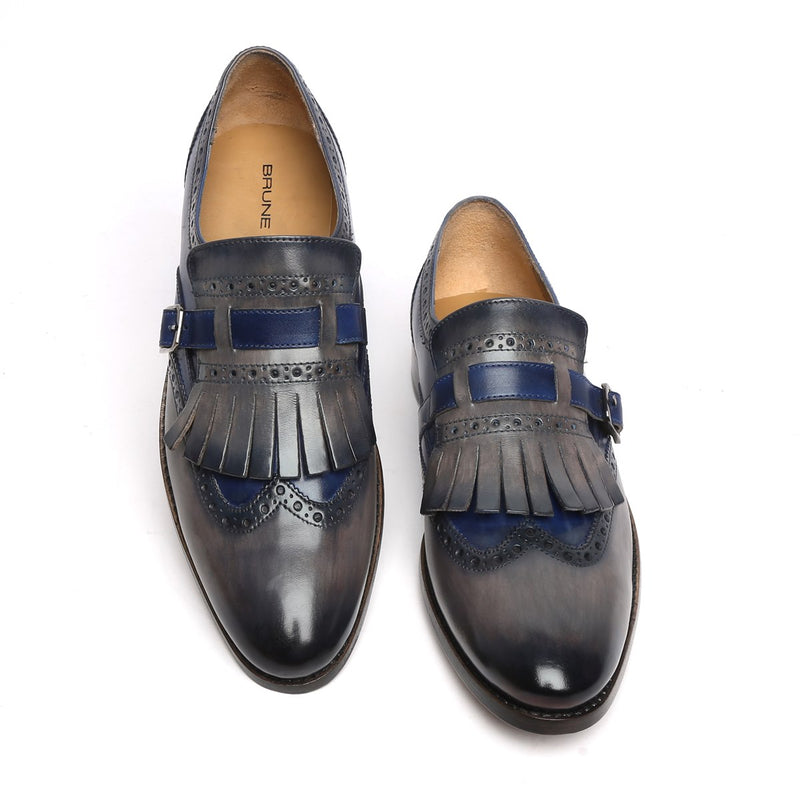 Blue/Grey Leather Fringed Single Monk Strap Shoes By Brune