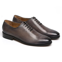 SMUDGED GREY LEATHER WHOLE CUT/ONE PIECE MEDALLION TOE OXFORD SHOES BY BRUNE