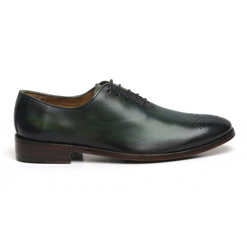 GREEN LEATHER WHOLE CUT/ONE PIECE MEDALLION TOE OXFORD SHOES BY BRUNE