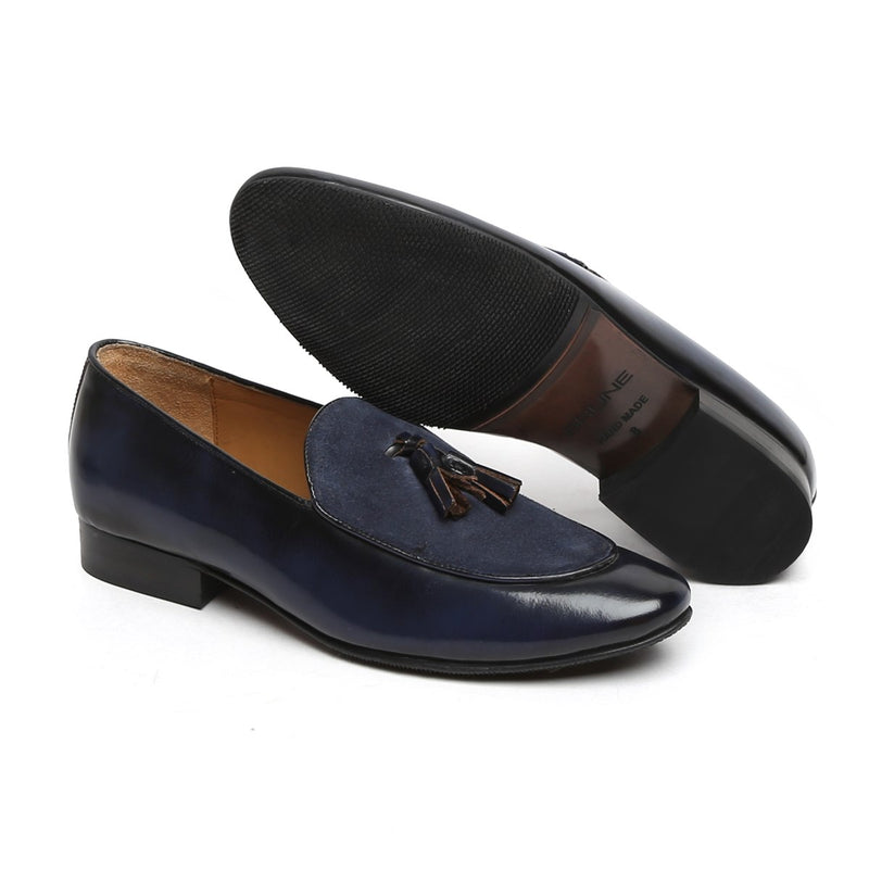 Navy Blue Glossy/Suede Leather Apron Toe Tassel Slip - On Shoes By Brune