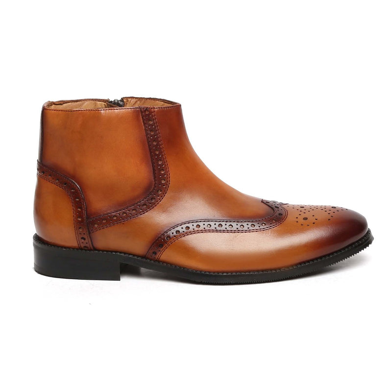 TAN WINGTIP MEDALLION TOE BRYCE BOOTS FOR MEN BY BRUNE