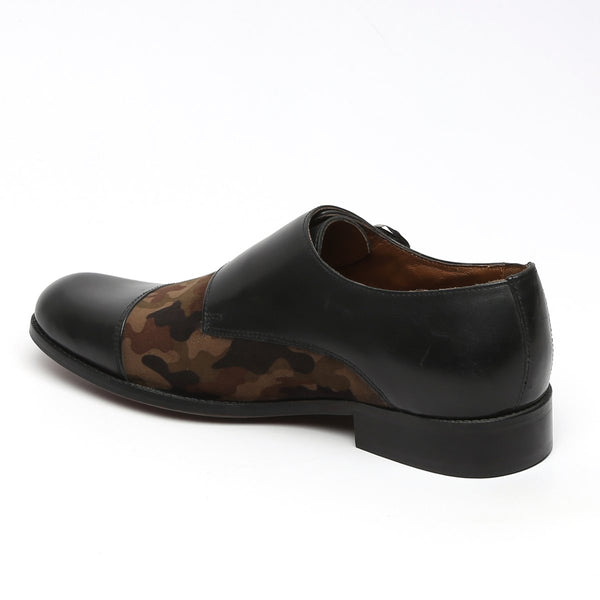 BLACK LEATHER & CAMOUFLAGE VELVET CAP TOE DOUBLE MONK STRAP FORMAL SHOES BY BRUNE