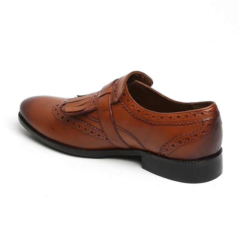 TAN BURNISHED LEATHER FRINGED SINGLE MONK STRAP SHOES BY BRUNE