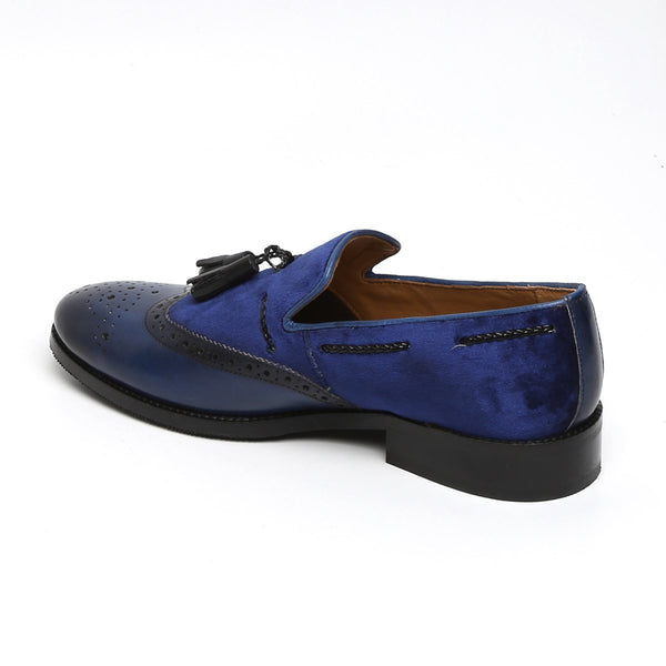 NAVY LEATHER / VELVET SIDE LACING TASSEL SLIP-ON SHOES BY BRUNE