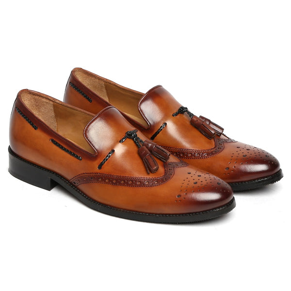 Tan Side Lacing Medallion Toe Formal Tassel Slip - On Shoes By Brune