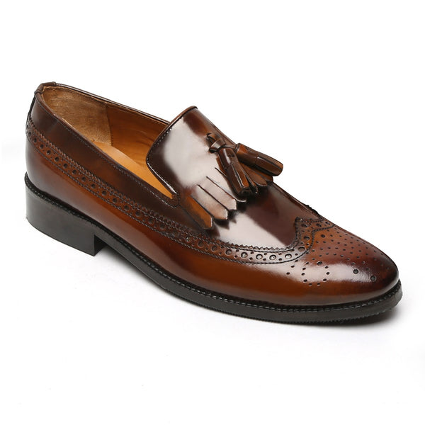 Brown Long Tail Brush-Off Leather Tassel Slip-On By Brune