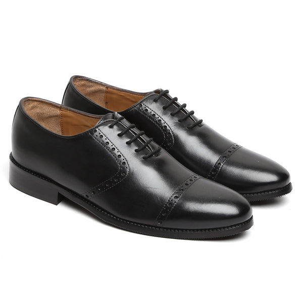 BLACK CLASSIC QUARTER BROGUE LEATHER OXFORD SHOES BY BRUNE