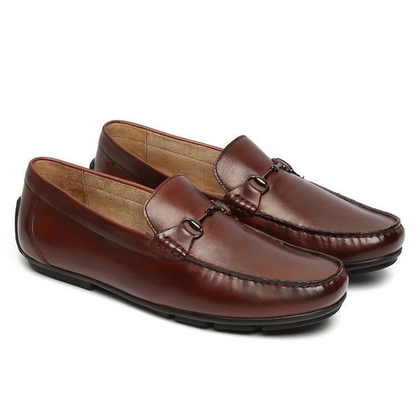 BROWN HORSEBIT LEATHER LOAFERS BY BRUNE