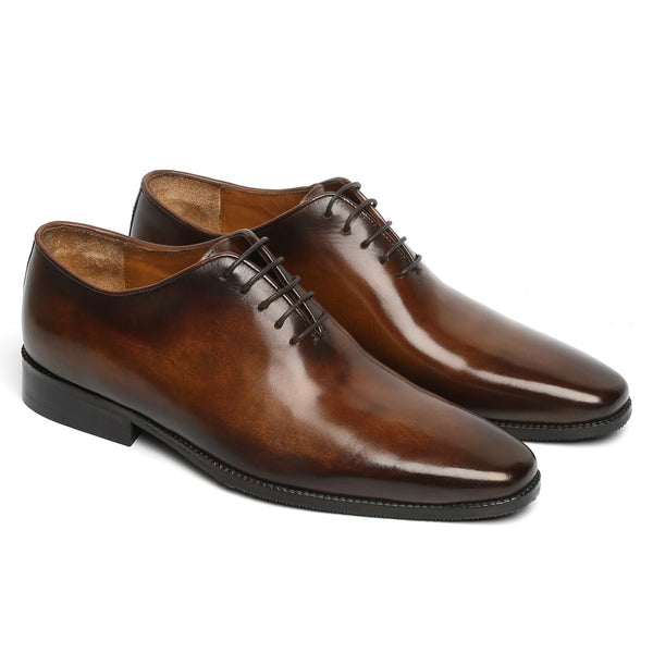 BROWN HAND PAINTED LEATHER HANDMADE WHOLE CUT/ONE-PIECE OXFORD SHOES FOR MEN BY BRUNE