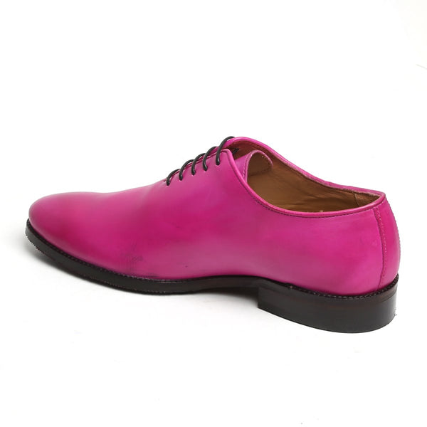 PINK LEATHER WHOLE CUT/ONE PIECE OXFORD SHOES BY BRUNE