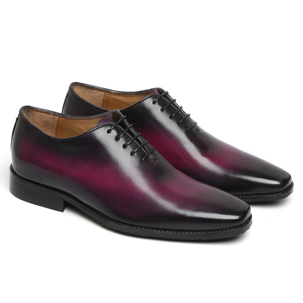 PURPLE HAND PAINTED LEATHER HANDMADE WHOLE CUT/ONE-PIECE OXFORD SHOES FOR MEN BY BRUNE