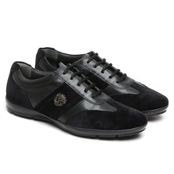 Black Leather With Black Velvet Stripes Silver Lion Metal Logo Sneakers By Bareskin