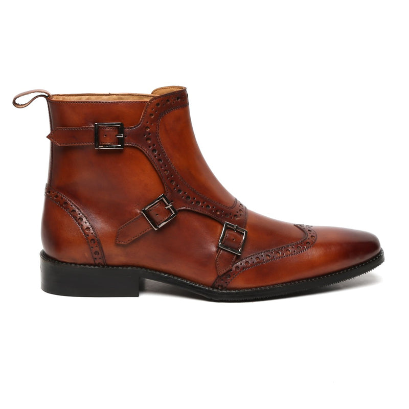 Brogue Triple Monk Dark Tan High Ankle Leather Boots By Brune