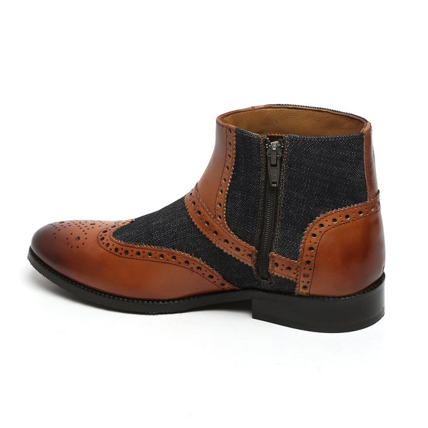 TAN LEATHER/CHARCOAL GREY DENIM FULL BROGUE BOOTS BY BRUNE