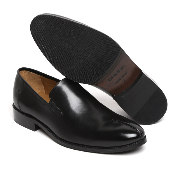 BLACK MID-STITCHED TOE CLASSIC LEATHER SLIP-ONS SHOE BY BRUNE