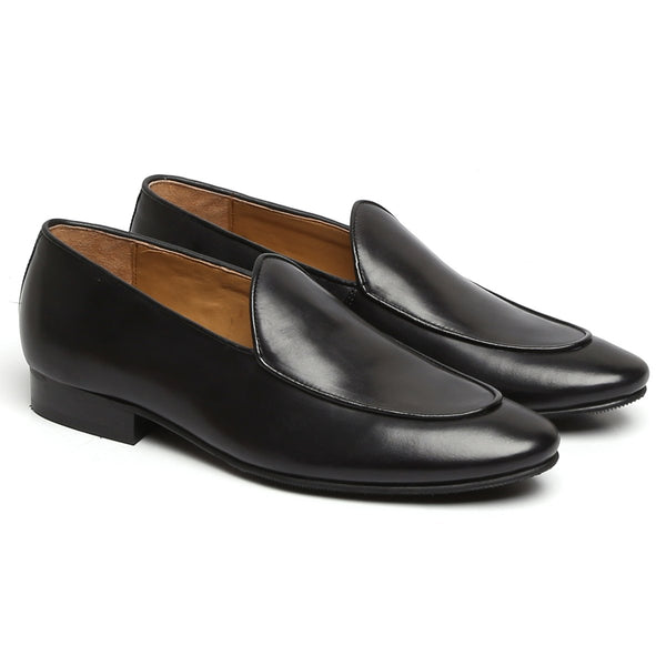 APRON TOE BLACK LEATHER FORMAL LOAFERS BY BRUNE