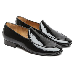 BLACK EXTRA SHINY PATENT LEATHER HAND MADE FORMAL SLIP-ON SHOES FOR MEN BY BRUNE