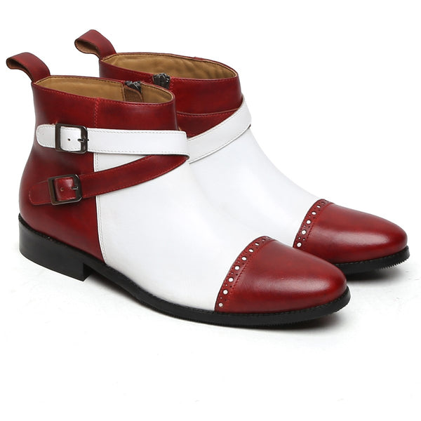 WINE-WHITE DUAL COLOR BRYCE LEATHER BOOTS BY BRUNE