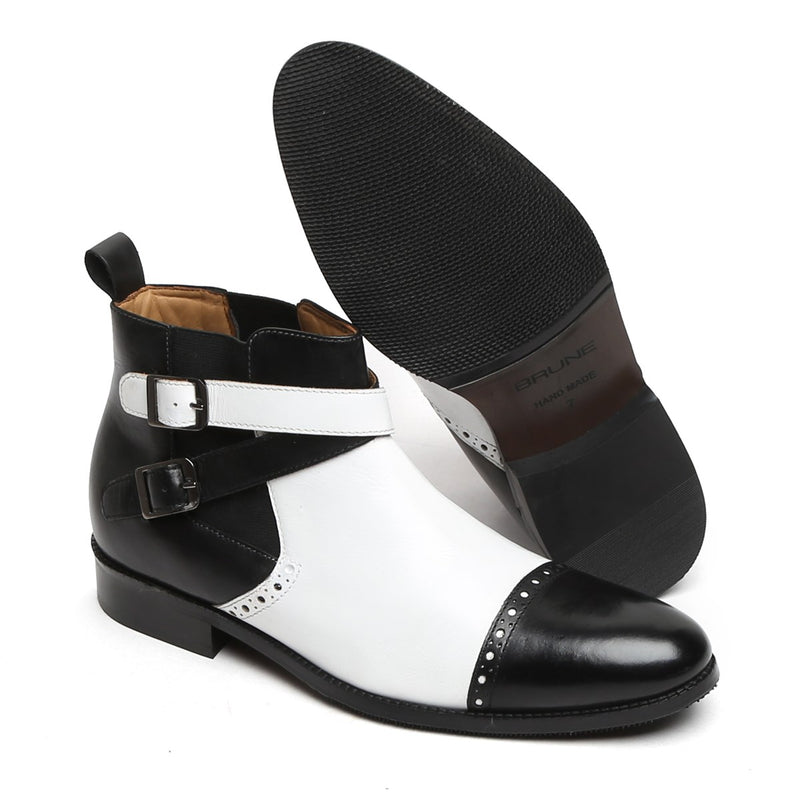 BLACK-WHITE DUAL COLOR BRYCE LEATHER BOOTS BY BRUNE