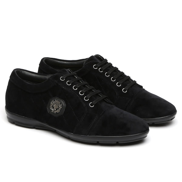 Diamond Stitched Black Velvet Silver Lion Logo Sneaker By Bareskin