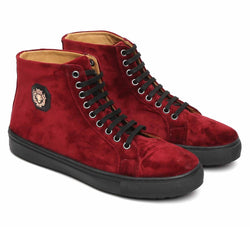 Maroon Dual Shade Velvet High Ankle Lace-Up Sneakers By Bareskin
