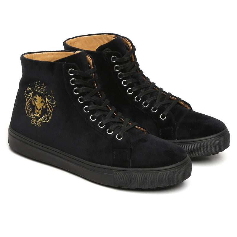 Black Velvet High Ankle Lace-Up With Golden Lion-King Embroidery Sneakers By Bareskin