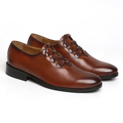 DESIGNER CROSS LACES TAN LEATHER FORMAL SHOES BY BRUNE