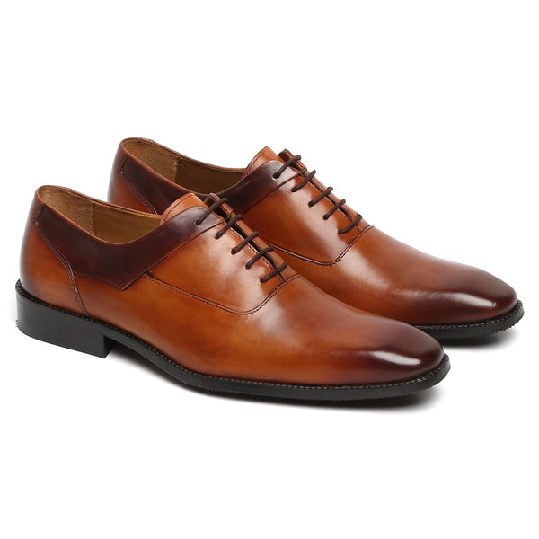 CONTRASTING TOP LINE TAN LEATHER OXFORD SHOES BY BRUNE