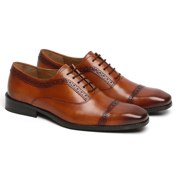 BROGUE TOP LINE TAN LEATHER OXFORD SHOES BY BRUNE