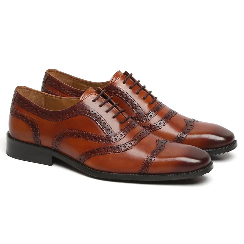 TAN MULTI-LINE BROGUE LEATHER OXFORDS BY BRUNE