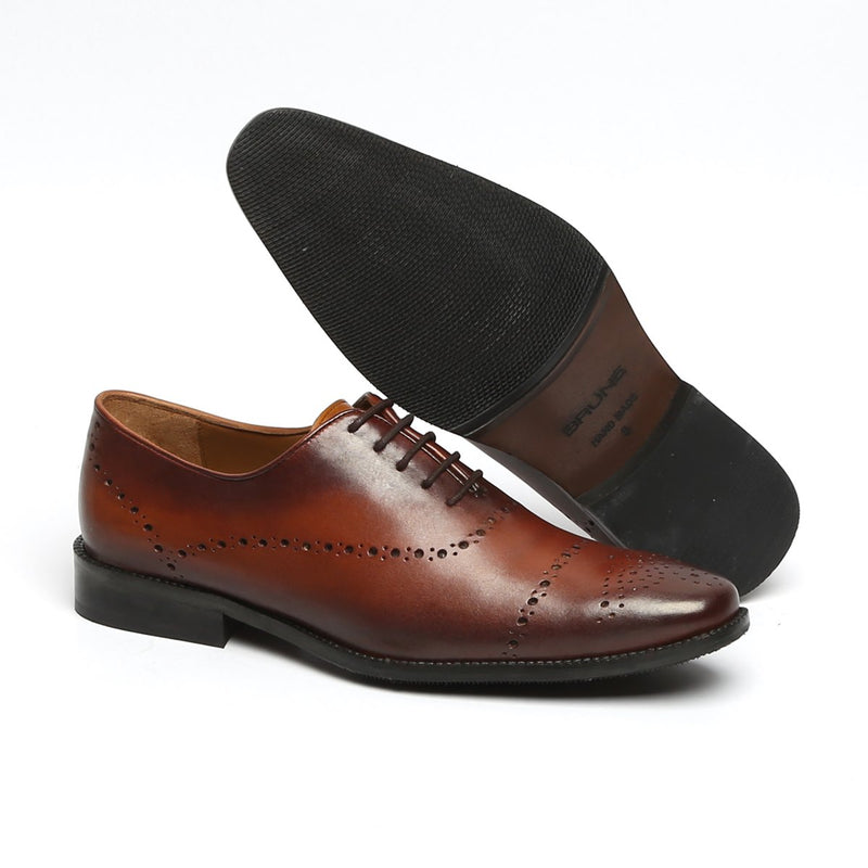 BROWN FULL BROGUE PUNCH LEATHER OXFORD SHOES BY BRUNE