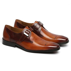 Tan Dual Tone Stylish Single Strap Leather Shoes By Brune