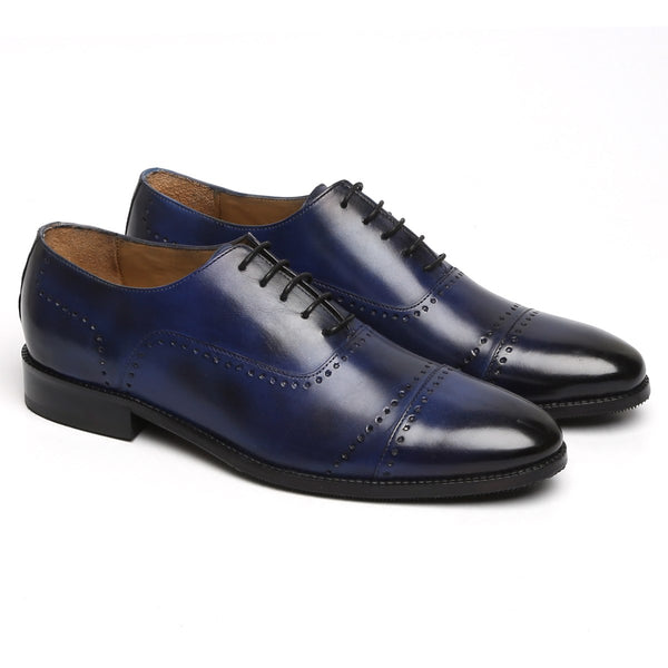 BLUE PUNCHING DESIGN LEATHER FORMAL OXFORDS BY BRUNE